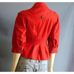 Anthropologie Jackets & Coats - Anthro Floreat Red Peplum Jacket 4